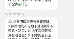 收到本地中国电信的强降雨天气重要提醒短信