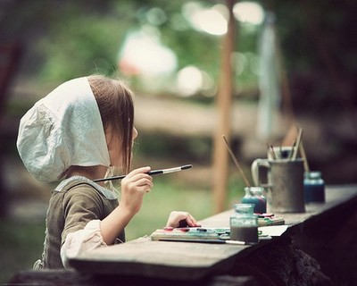 画画,绘画,小女孩画画