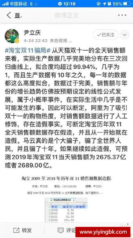 网友尹立庆质疑天猫淘宝双11数据造假