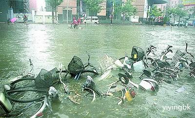 河南暴雨,路上存了很多水,www.yiyingbk.com